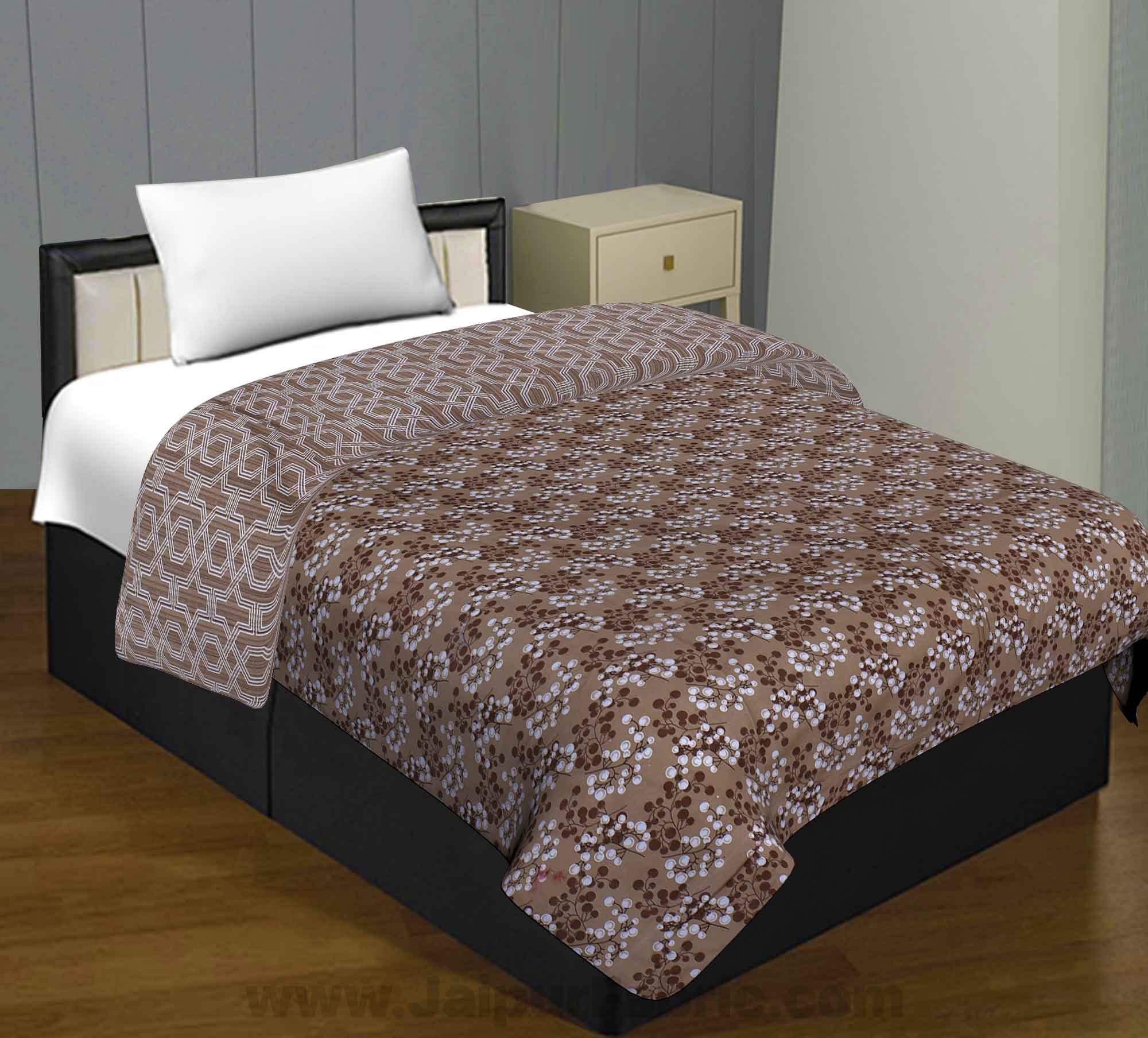 Pure Cotton Brown White Cherries Reversible Single Blanket/Duvet/Quilt/AC Dohar