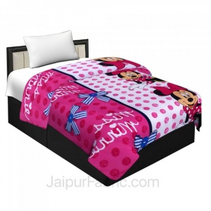 Micro Cotton Minnie Mouse Pink Reversible Single Blanket/Duvet/Quilt/AC Dohar