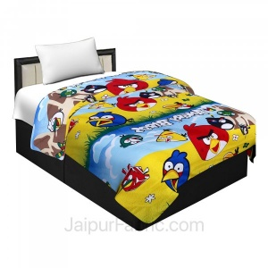 Micro Cotton Colorful Angry Birds Reversible Single Blanket/Duvet/Quilt/AC Dohar