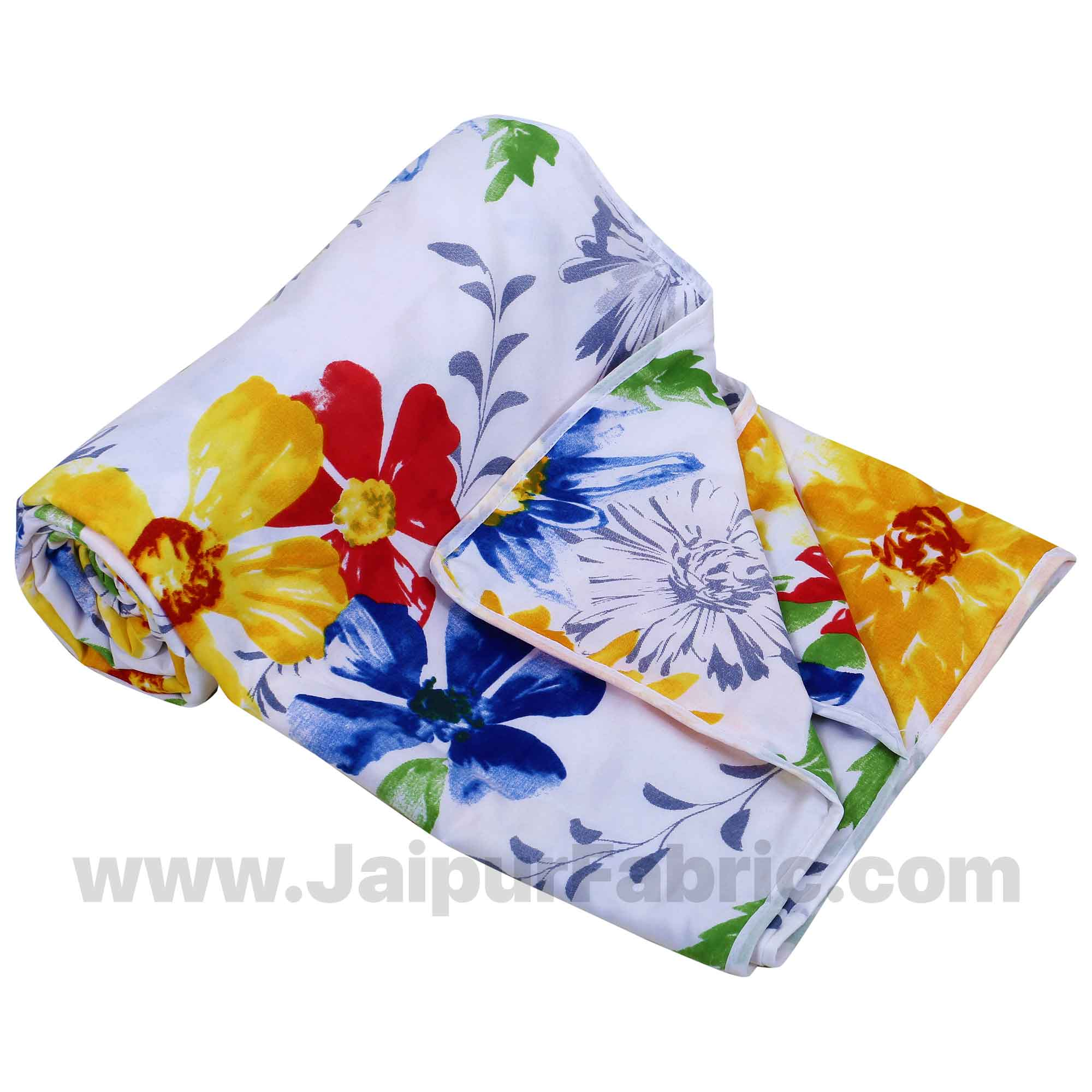 Micro Cotton Colorful Blooming Flowers Reversible Single Blanket/Duvet/Quilt/AC Dohar