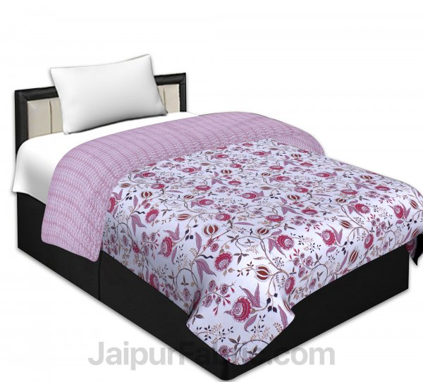 Pure Cotton Refreshing Floral Reversible Single Bed Blanket/ Duvet/Quilt/AC Dohar