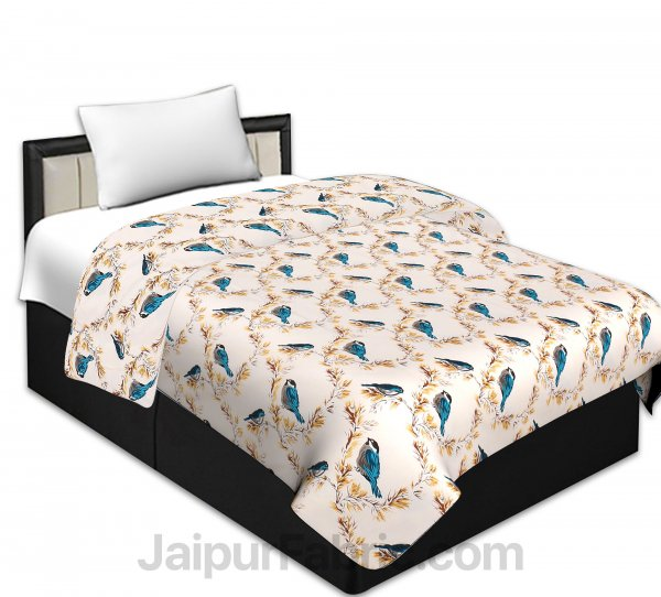 Pure Cotton Indian Bird Reversible Single Bed Blanket/ Duvet/Quilt/AC Dohar