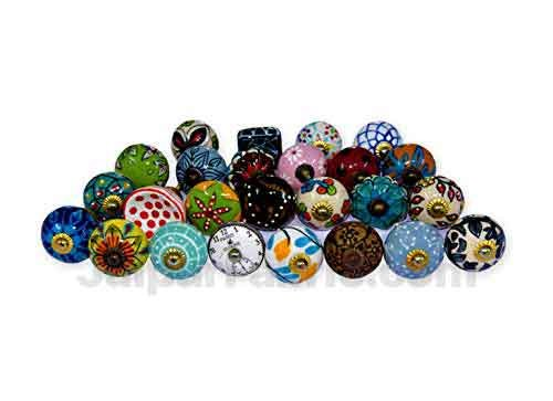 MultiColor Set of 25 Pcs Fabricated Knobs for Doors and Cabinets with Brass Blue Pottery