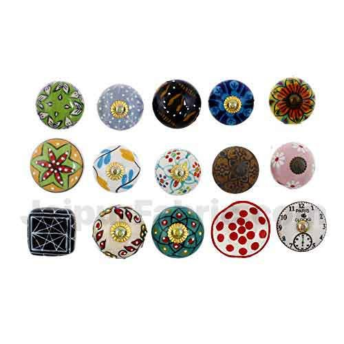 MultiColor Set of 15 Pcs Fabricated Knobs for Doors and Cabinets with Brass Blue Pottery