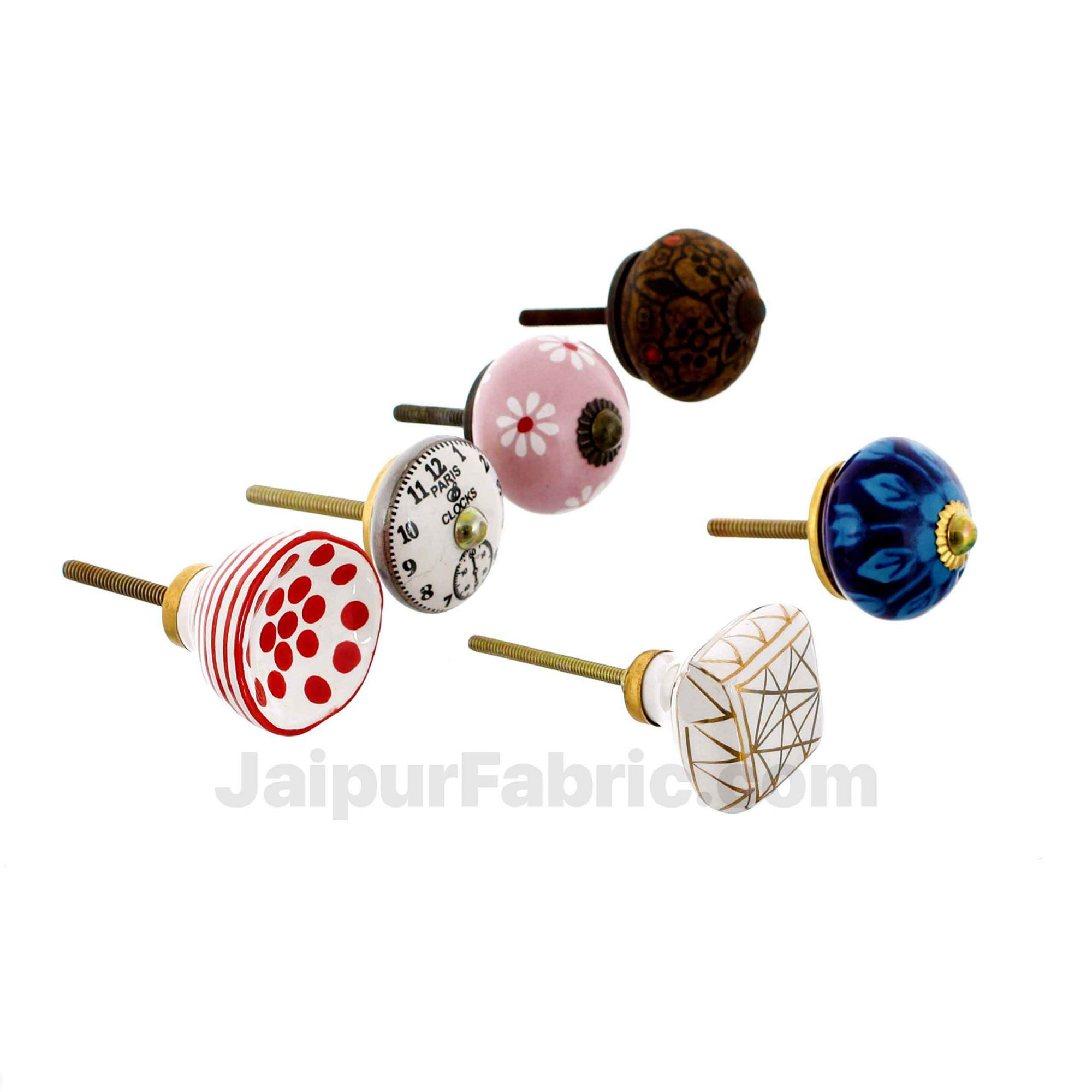 MultiColor Set of 6 Pcs Fabricated Knobs for Doors and Cabinets with Brass Blue Pottery