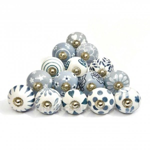 English Ceramic Knob Set of 15 Pcs Fabricated Knobs for Doors and Cabinets with Brass Blue Pottery