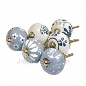 English Ceramic Knob Set of 6 Pcs Fabricated Knobs for Doors and Cabinets with Brass Blue Pottery