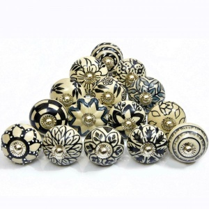 Black & White Set of 15 Pcs Fabricated Knobs for Doors and Cabinets with Brass Blue Pottery