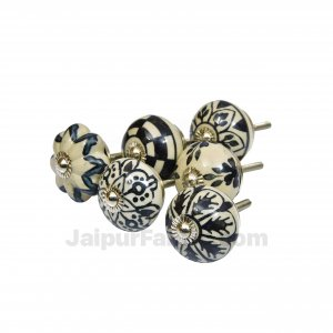 Black & White Set of 6 Pcs Fabricated Knobs for Doors and Cabinets with Brass Blue Pottery