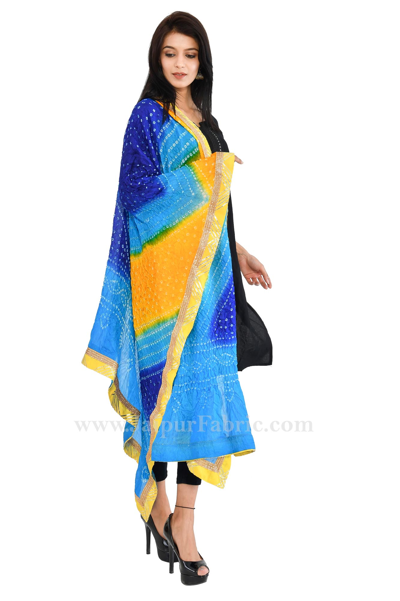 Magji Border Multi color Art silk Jaipuri Rajasthani Bandhni Bandhej Multi-Colored Heavy Dupatta Chunni