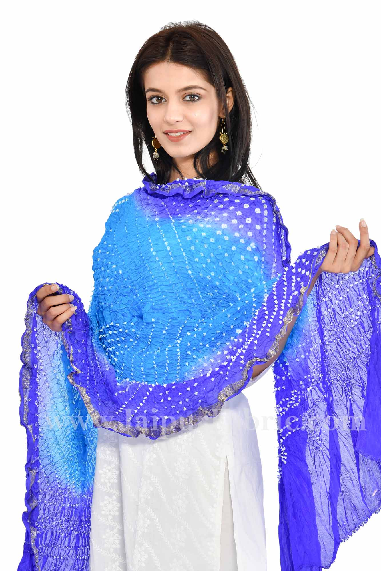 Zari Border Blue Colored Jaipuri Rajasthani Art Silk Bandhni Bandhej Heavy Dupatta Chunni
