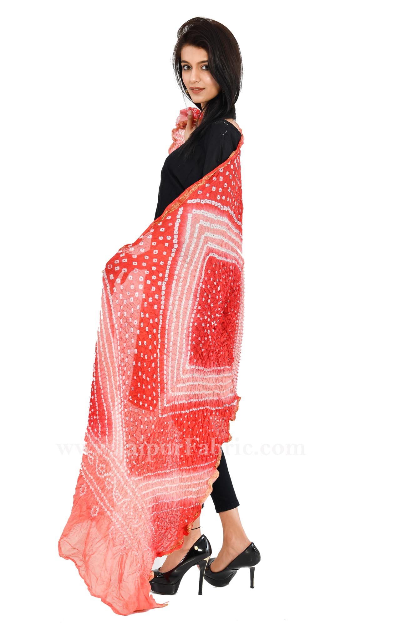 Zari Border Multi Colored Jaipuri Rajasthani Art Silk Heavy Dupatta Chunni
