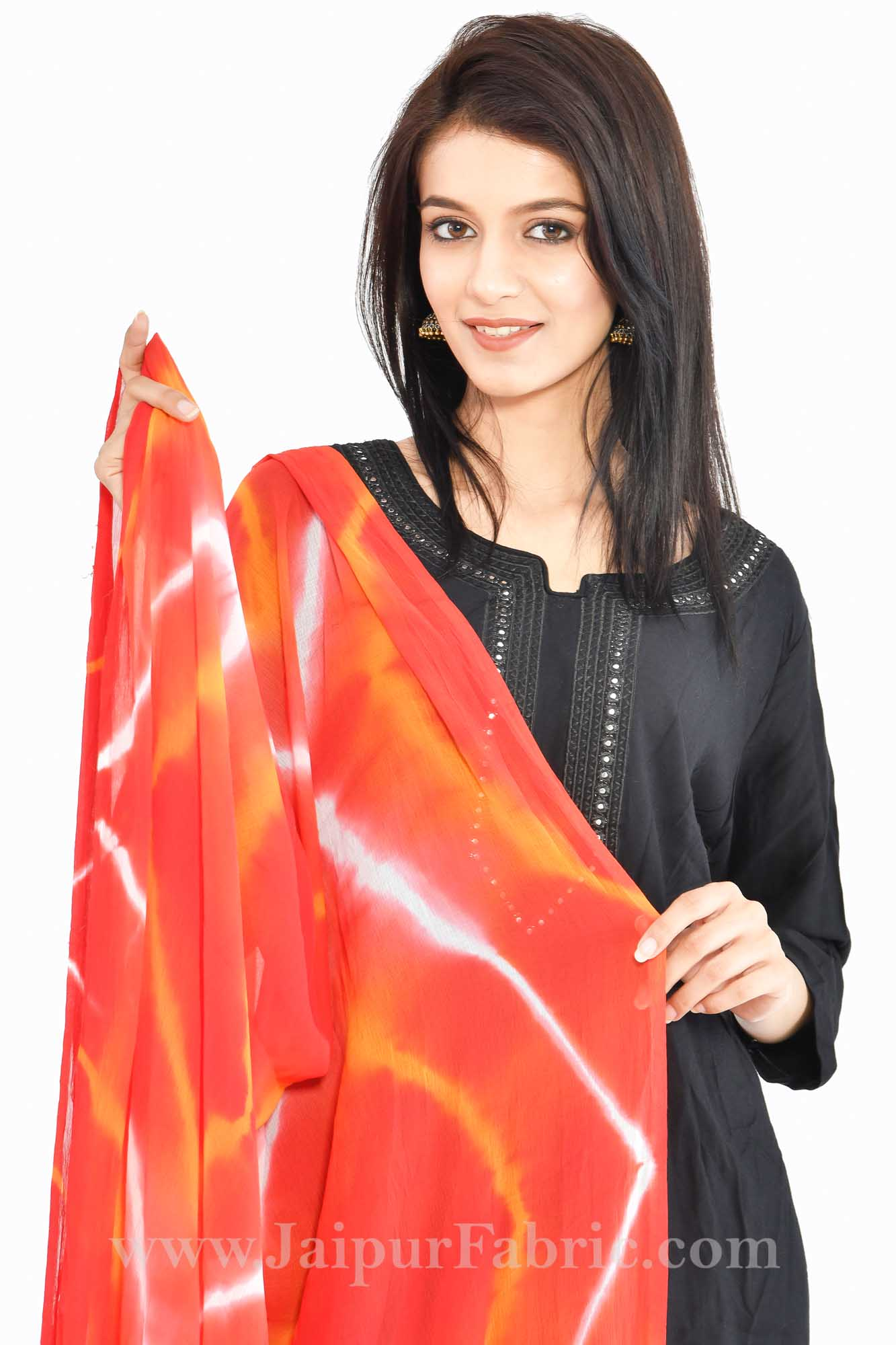 Fancy Lehariya Orange Jaipuri Chiffon Rajasthani Bandhni Bandhej Multi-Colored Heavy Dupatta Chunni