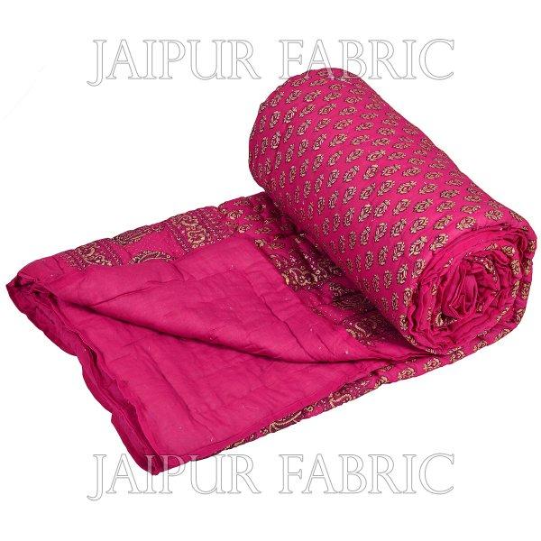 Magenta Base Goldern Print Fine Cotton Double Quilt