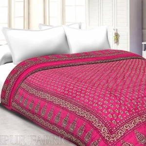 Magenta Base Golden Print Fine Cotton Single Bed Quilt