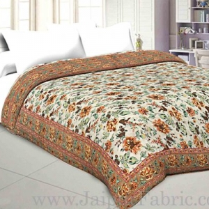 Jaipur Rajai Mughal Print Fine Cotton Double Bed Quilt