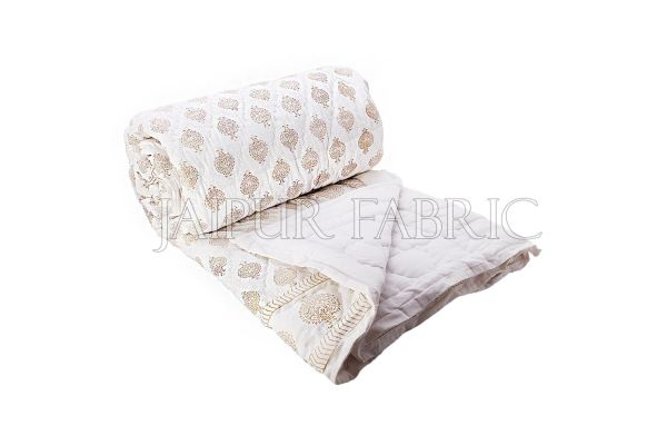Royal Kalash Golden Print White Base Double Bed Quilt