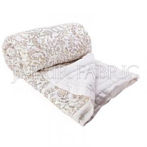 Royal Floral Golden Print White Base Double Bed Quilt