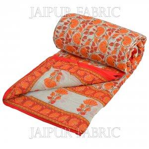 Orange And Cream Border With Golden Print Orange Flower Super Fine Cotton Voile(Mulmul) Both Side Printed Cotton Double Bed Quilt