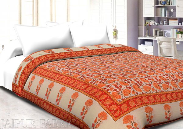 Orange And Cream Border With Golden Print Orange Flower Super Fine Cotton Voile(Mulmul) Both Side Printed Cotton Double Bed Quilt