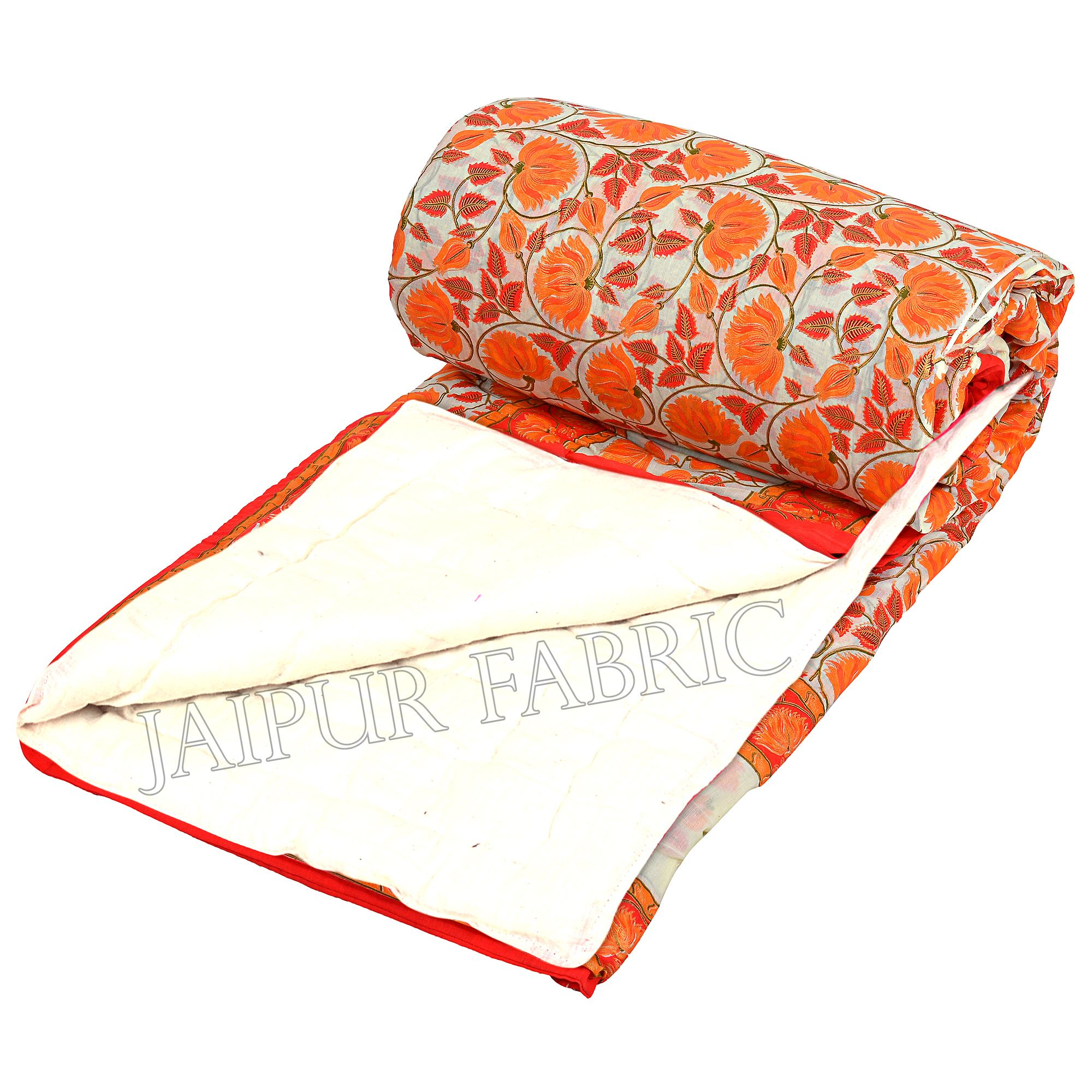 Orange And Cream Border With Golden Print Orange Flower Super Fine Cotton Voile(Mulmul) One Side  Printed Cotton Double Bed Quilt