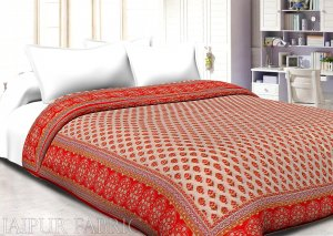 Orange Border Cream Base Golden Floral Print Super Fine Cotton Voile(Mulmul) Both Side Printed Double Bed Quilt