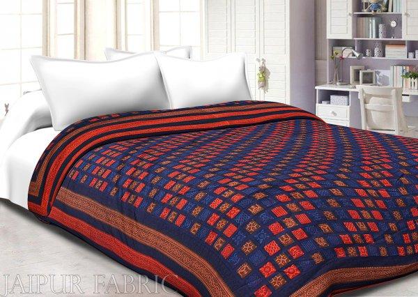 Orange And Navy Blue Border Bagru Check Print Super Fine Mulmal  Both Side Printed  Double Bed Quilt