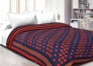 Orange And Navy Blue Border Bagru Check Print Super Fine Mulmal  Both Side Printed  Double Bed Quilt