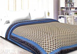 Blue Border Cream Base Golden Floral Print Super Fine Cotton Voile(Mulmul) Both Side Printed Double Bed Quilt