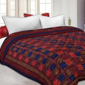 Neavy Blue Border Multi Colour  Check & Dabu Print Fine Cotton  Double Bed Quilt