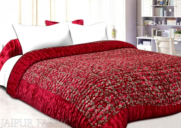 Maroon Base Golden Floral Print Silk Double Quilt