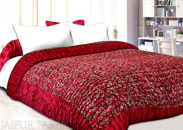 Maroon Base Golden Floral Print Silk Double Quilt