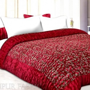 Red Base Golden Floral Print Silk Single Quilt