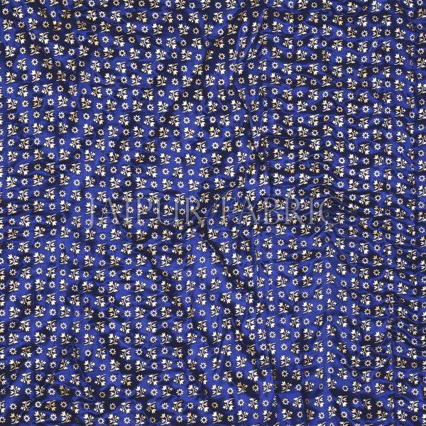 Navy Blue Base Golden Floral Print Silk Double Quilt