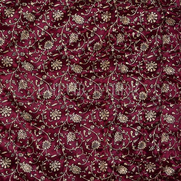 Dark Maroon Base Golden Floral Print Silk Double Quilt