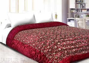 Dark Maroon Base Golden Floral Print Silk Double Quilt