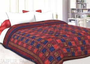 Neavy Blue Border Multi Colour  Check & Dabu Print Fine Cotton  Double Bed Quilt