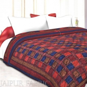 Neavy Blue Border Multi Colour Check & Dabu Print Fine Cotton single Bed Quilt