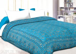 Firozi Base Golden Print Fine Cotton Double Quilt