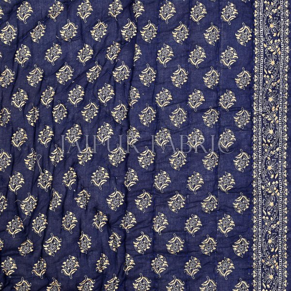 Navy Blue Base Golden Print Fine Cotton Double Quilt