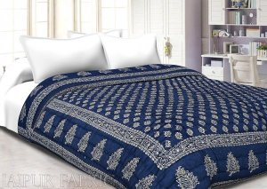 Navy Blue Base Golden Print Fine Cotton Single Quilt
