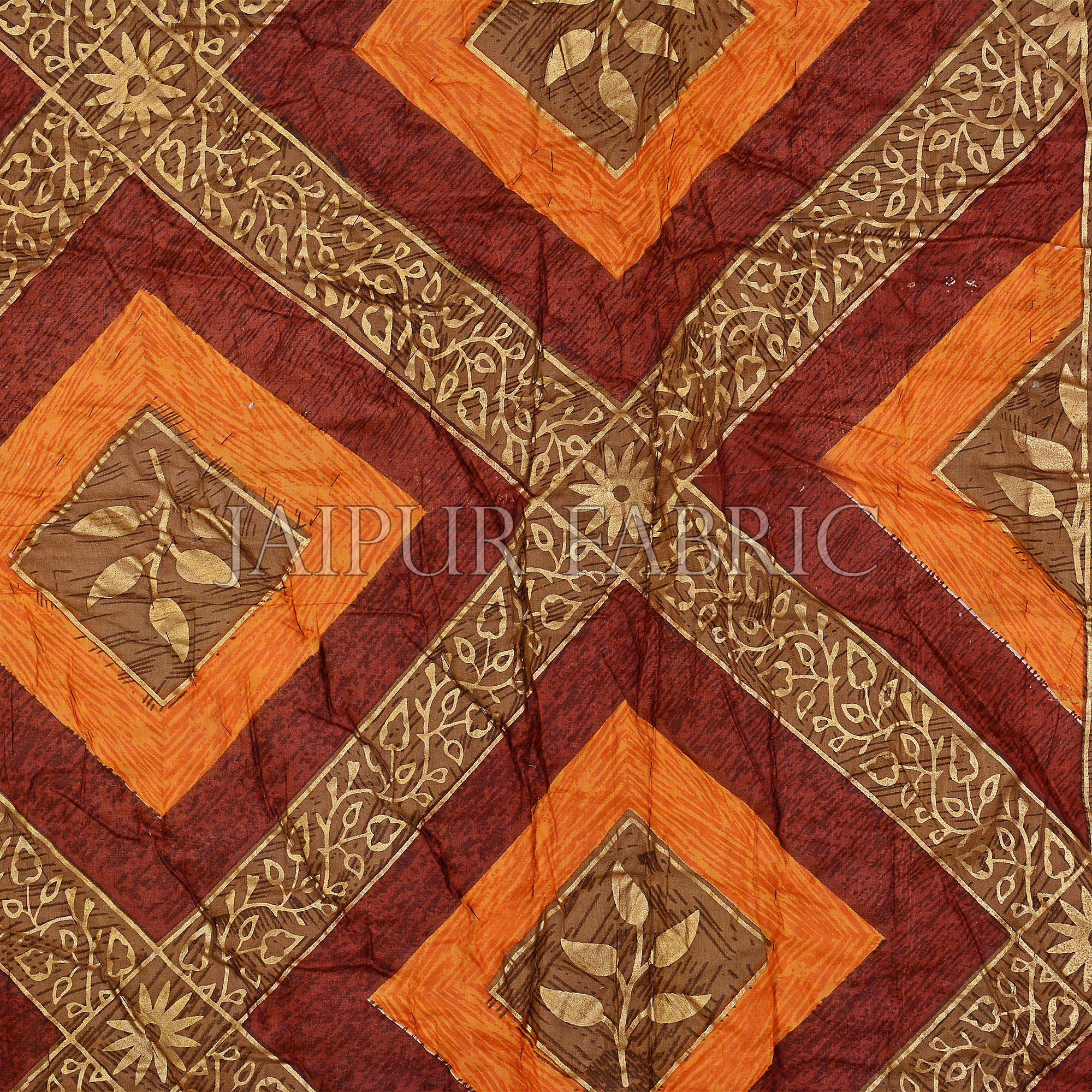 Orange And Rust Checks Base Golden Print Fine Cotton Double Quilt