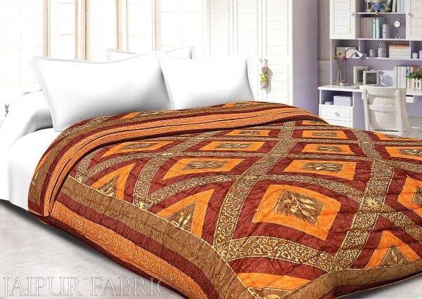 Orange And Rust Checks Base Goldern Print Fine Cotton Double Quilt