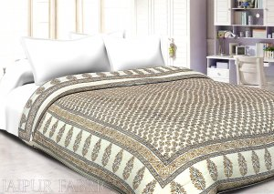 Cream Base Golden Flower With black lining Cotton Double Bed Quilt