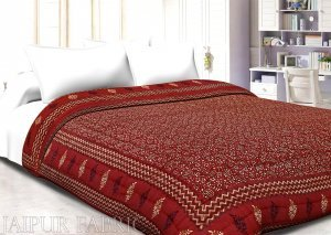 Maroon Base Golden Print Fine Cotton Single Bed Quilt