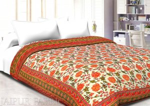 Orange Border Cream Base Golden Print Cotton Double Bed Quilt
