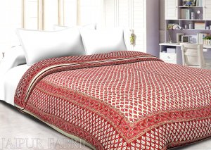 Cream Base  Pink & Maroon Small Bagru Print Cotton Double bed quilt