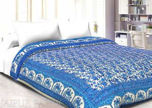 Cream base blue print with camel and flower cotton double bed quilt