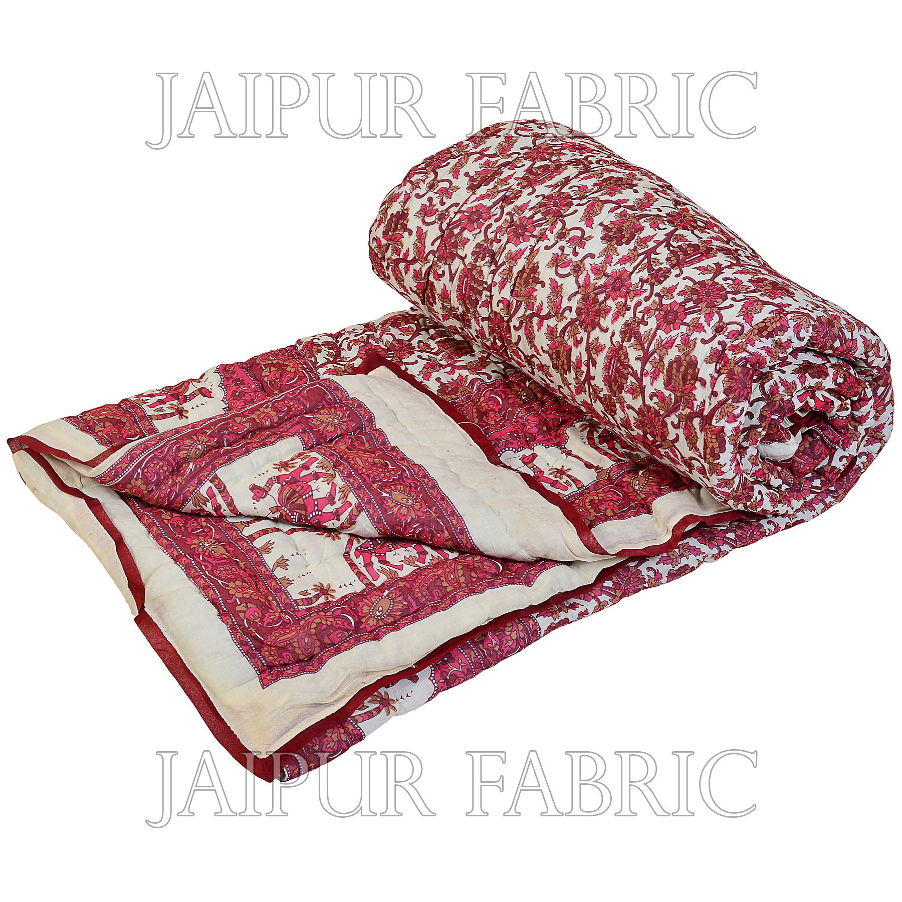 Cream Base Pink Print With Camel And Flower Cotton Double Bed Quilt