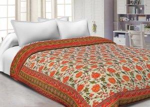 Orange Border Cream Base Golden Print Cotton Double Bed Quilt